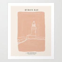Byron Bay Lighthouse | Simple Line Art Drawing | East Coast, Australia  Art Print