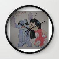 ohana Wall Clocks featuring Ohana by Sierra Christy Art