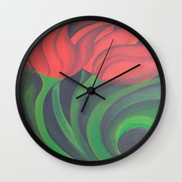 Red Tulip Diptych Wall Clock