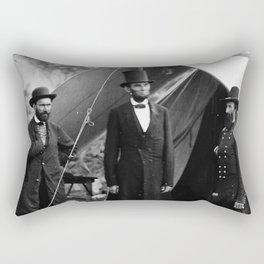 Antietam, Md. Allan Pinkerton, President Lincoln, and Maj. Gen. John A. McClernand Rectangular Pillow