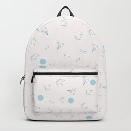 Cute simple vector rustic pattern with blue flowers and polka dots Backpack