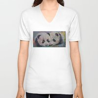 pandas V-neck T-shirts featuring Baby Pandas by Michael Creese