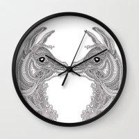 llama Wall Clocks featuring Llama by Olya Goloveshkina