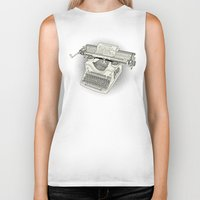 typewriter Biker Tanks featuring typewriter by Borja Espasa
