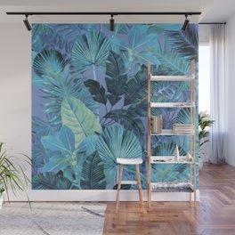 Tropical Leaf Aqua Wall Mural