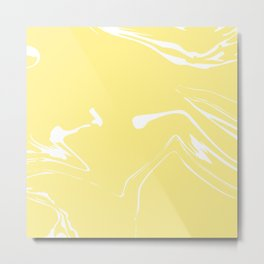 Yellow With White Liquid Paint Metal Print
