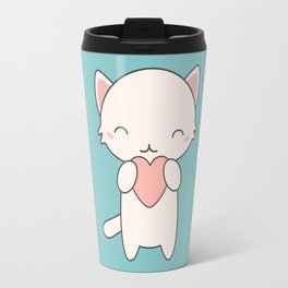 Kawaii Cute Cat With Hearts Travel Mug