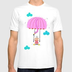 one of the many uses of a flamingo - parachute White Mens Fitted Tee MEDIUM