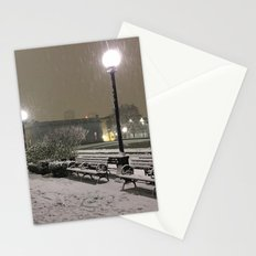 Romantic Seattle Snow At Night Stationery Cards