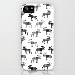 Moose Trot // Black & White Plaid iPhone Case