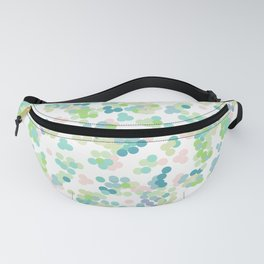 Blue green polka dots on a white background . Fanny Pack