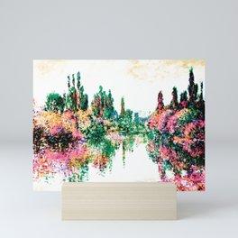 Monet Morning on the Seine, near Vetheuil 1878 Pink Peach Mini Art Print