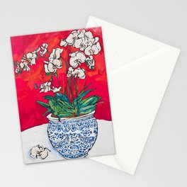 Orchid in Chinoiserie Bird Pot on Pink, Coral and Red Background Floral Still Life Painting Matisse Stationery Cards