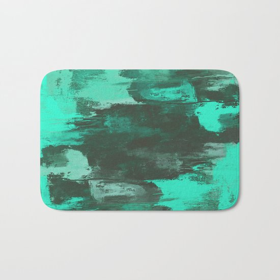 Chill Factor - Abstract cyan blue painting Bath Mat