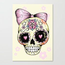 Sugar Skull (Yellow) Canvas Print