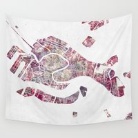 venice Wall Tapestries featuring VENICE by MapMapMaps.Watercolors