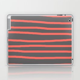 Living Coral Stripes on Gray Laptop & iPad Skin