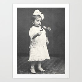 1860 Girl with Flowers Art Print