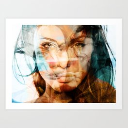 faces of Angelina Jolie Art Print