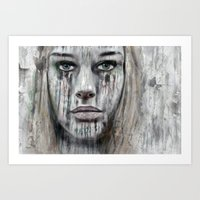 woman Art Prints featuring woman by teddynash