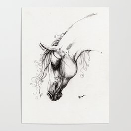Arabian horse drawing tattoo Poster
