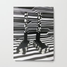 Black and White Shoebox Feet Metal Print