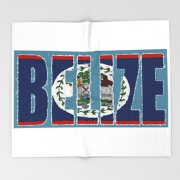 Belize Map with Belizean Flag Throw Blanket