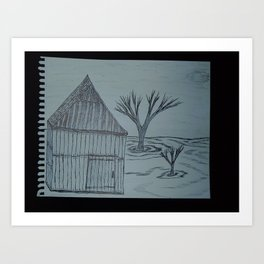 Shack Shed and a Couple of Trees Art Print