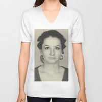 mom V-neck T-shirts featuring MOM by Lamiapetitedollrosa