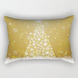 Gold Snowflakes Sparkling Christmas Tree Rectangular Pillow