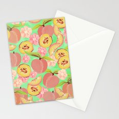 Peaches on Green Stationery Cards