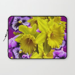 YELLOW SPRING DAFFODILS & LILAC PANSIES COLOR ART Laptop Sleeve