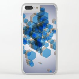 3D Hexagon Background Clear iPhone Case