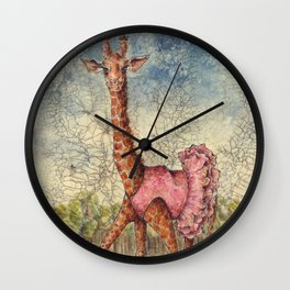 Giraffe in Pink Tutu Wall Clock