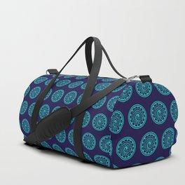 70s Retro Blue Geometric Floral Polynesian Tribal Mandala Duffle Bag