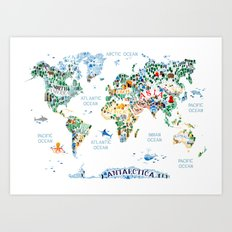 CUTEST WORLD MAP EVER Art Print