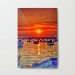 sunset at portopalo sicily Metal Print