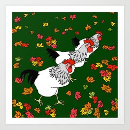 Chickens Run Art Print