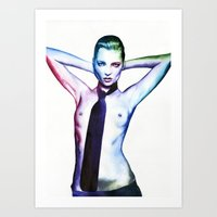 kate moss Art Prints featuring Kate Moss by Cora-Tiana