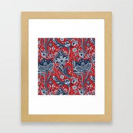 Red White & Blue Floral Paisley Framed Art Print