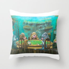Pinnipeds Playing Poker Throw Pillow