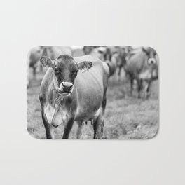 Dairy Cow Stowe Vermont Black and White Square Bath Mat