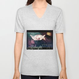 Midnight STEAM steampunk angel by The Whimsical Peacock Unisex V-Neck