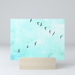 GEESE FLYING - TURQUOISE Mini Art Print