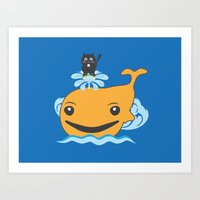 surfing Art Prints featuring Surfing by Hagu