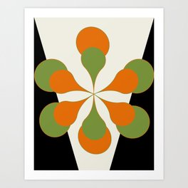 Mid-Century Modern Art 1.4 - Green & Orange Flower Art Print