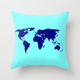 World Silhouette In Blue Throw Pillow