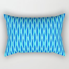 Mid-Century Ribbon Print, Shades of Blue and Aqua Rectangular Pillow
