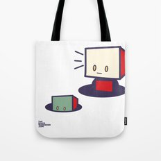 robots in holes Tote Bag