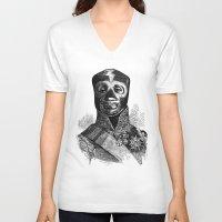 wrestling V-neck T-shirts featuring WRESTLING MASK 10 by DIVIDUS